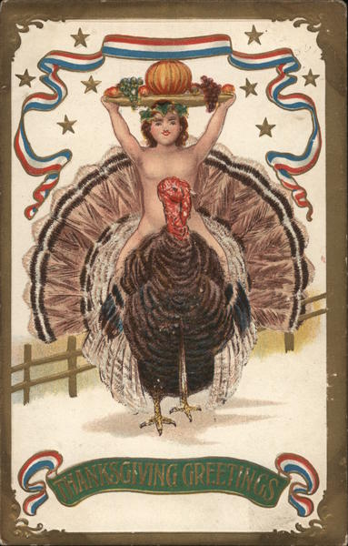 Man appearing to be naked sits on a large turkey holding a tray of food above his head.