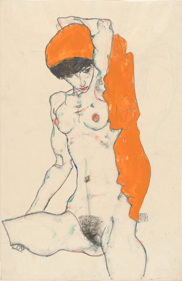 Egon-Schiele,-Standing-Nude-with-Orange-Drapery,-1914